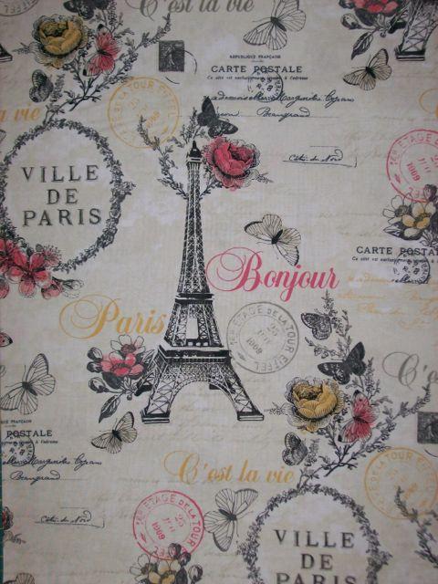Eiffel Tower Paris Theme Cotton Quilting Fabrics