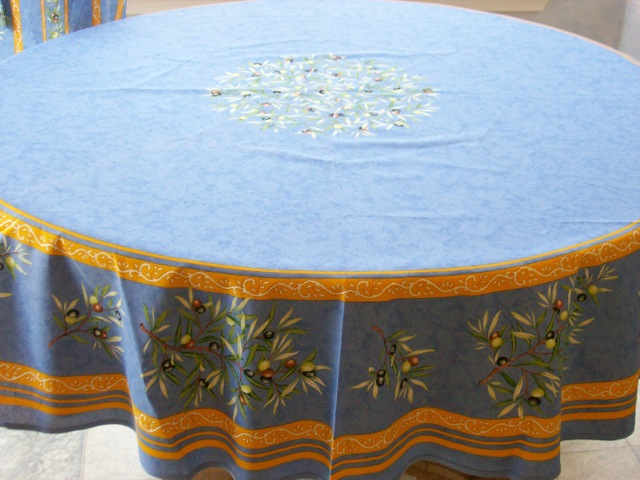 French Provencal Cotton Tablecloth Imported From France Is 70 Inches Round  And Is Shown On A 48 Inch Diameter Round Table.